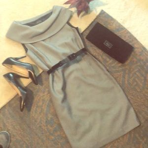 Tahari Cap sleeve mock- neck dress.